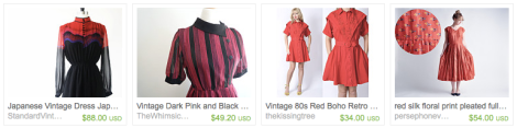 Etsy Treasury List Red VIntage Dress