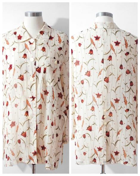Japan Vintage Blouse, Vintage Sheer Blouse, Tulip Blouse