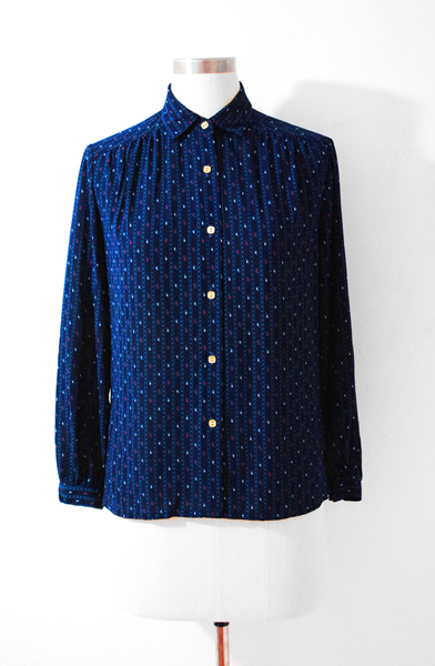 Japan Vintage Drak Blue Blouse, Preppy Blouse