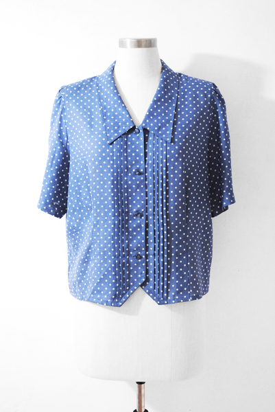 Japan Vintage Blouse, Japnese Vintage, Denim Blue Blouse
